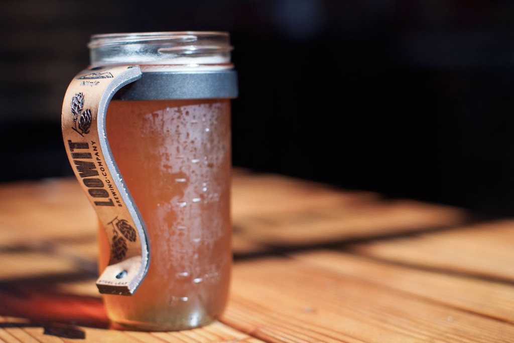 Steel Leaf Custom Leather Mason Jar Handle